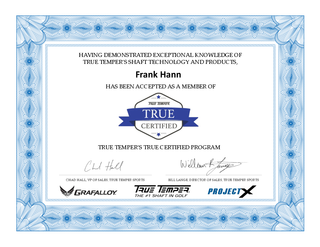 True Temper Certified Shaft Center